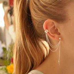 Wholesale Clip Chain Earrings Crystal - Punk Rock Style Woman Young Gift Leaf Chain Tassel Earrings, Metallic Gold And Silver Jewelry Earrings Ear Clip Wholesale