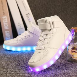 Wholesale Grow Cotton - Quality 7 Colors Kids LED Shoes 2017 Autumn Winter High Top Children Growing Sneakers For Boys Girls Luminous Lights Shoes Solid
