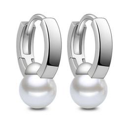 Wholesale Wholesale Conch Pearl - Conch Pearl Earrings For Women Fashion Ear Jewelry Aboluoduo Tremella Hoop Circle Ladies Wedding Pearl Drop Clip On Earrings Simple Elegant