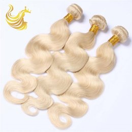 Wholesale Blonde Extension Wigs - Fashion Blonde Hair Human Hair Weaves Curls Wigs Unprocessed Virgin Full Head Hair Extensions Body Waves Hair Weave Bundles 3pcs lot