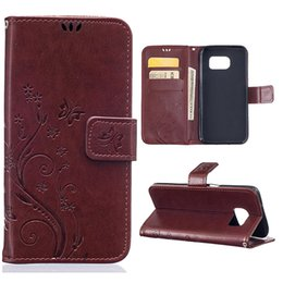 Caso di cuoio di lusso della galassia s5 online-Luxury Flip PU Leather + Silicon Wallet Cover per Samsung Galaxy S6 S7 s6 bordo s7 edge S5 Case phone Coque