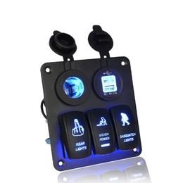 Wholesale Automotive Switches - Automotive Car Marine Switch Panel 3 gang rocker switch with usb socket