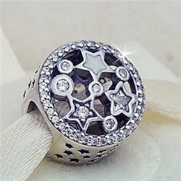 Wholesale Illuminated Letters - New 925 Sterling Silver Illuminating Stars Charm Bead with Clear CZ Fits European Pandora Jewelry Bracelets