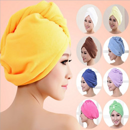 Wholesale hair drying turban towels - Lady Turban microfiber fabric thickening dry hair hat super absorbent quick-drying hair Shower cap Bath towel