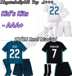 Wholesale Price Real - 3A+ quality factory wholesale prices Real Madrid Kids Home Away soccer Jersey Sets, 17 18 RONALDO camisetas de futbol JAMES BALE Youth kits