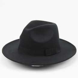 Wholesale wide brimmed fedora - Unisex Wool Felt Hat With Ribbon Trim Stylish Jazz Hats Fedora Wide Brim Caps Classic Solid Trilby Cap For Men And Women