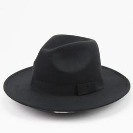 Wholesale men stylish wool hats - Unisex Wool Felt Hat With Ribbon Trim Stylish Jazz Hats Fedora Wide Brim Caps Classic Solid Trilby Cap For Men And Women