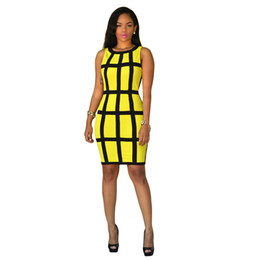 Lässiges kurzes gelbes kleid online-Frauen sommer dress 2017 bodycon sommerkleider grün gelb robe sexy club plaid verband dress casual vestidos kurze party kleider q1110