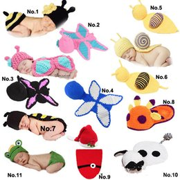 Wholesale Mouse Dog Costume - Baby Infant Snai Frog Hatl Mouse Costume Crochet Knitted Hat Cap Girl Boy Diaper Dogs Mermaid Crochet Cotton Knit Custome Set