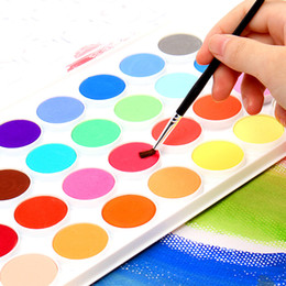 Wholesale Paper Packaging Supplies - 2016 NEW Watercolor set 12 16 28 36 Colors Painting Pigment +1 paintbrush for Transparent Watercolor Painting Set Supplies