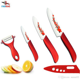 """Wholesale Knife Flower Painting - D117 Hot FINDKING High Quality Red Flower Painted Zirconia Ceramic Kitchen fruit Knife Set Kit 3"""" 5"""" 6'' inch + Peeler+Cove"""