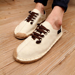 Wholesale Flax Straw - Factory Direct Selling Summer Crooked Head Fisherman Flax Canvas Shoe Lovers Casual Trend Straw Plaited Article Dawdler