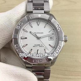 Wholesale Watch Band Silver Cheap - Cheap High Quality Luxury Brand 41mm Aquaracer Calibre 5 300M WAY2111.BA0928 White Dial Automatic Mens Watch Stainless Steel Band Watches