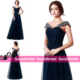 Wholesale Corset Style Party Dresses - 2016 Dark Navy Long Prom Dresses In Stock and Custom Made Original Design Princess Style Ball Evening Party Gowns Corset and Tulle Plus Size