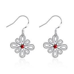 Удивительные Ruby полые цветок серьги на крючках для женщин участия покрытием стерлингового серебра 925 CZ серьги серьга ювелирные изделия Рождественский подарок от