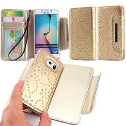 Wholesale Galaxy Glitter Cases - For Samsung Galaxy S5 S6 S6 Edge S7 S7 Edge S8 S8 plus 2 in 1 Glitter Flower Wallet Leather Case With Magnetic Detachable Cover