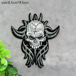 Wholesale Garment Accessories Patches - Free shipping 8.5cm*9.5CM Horror skeleton badge embroidered Appliquesgel patch can be sewn can iron clothes DIY accessory garment bag hot pa
