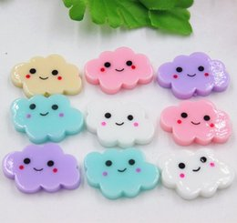 Wholesale Flat Back Resins Wholesale - Wholesale kawaii flat back resin cloud with smile DIY resin cabochons accessories 24*16mm kids toys free shipping