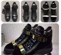 Wholesale Cheap Gold Dress Shoes - Wholesale Cheap 2018 New Arrival Luxury Brand Fashion High Top for Men and Women Black Sneakers Metal Gold Zip Lover Loopp Shoes