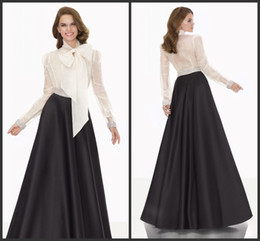 Wholesale Best Custom Made Shirts - Elegant Evening Dresses Free Shipping Black Satin Floor Length T-shirt White Long Sleeves Cheap Formal Dress Custom Made Best