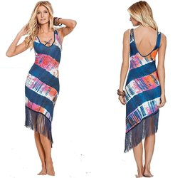 Wholesale Mid Scoop - 2016 Newest Women Sexy Dress Sleeveless Backless Tassel Printed Dresses Beach Dress Fashion Beachwear Swimwear S M L XL QZ940