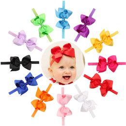 Wholesale Hair Bows 5inch - Baby Girls Elastic Grosgrain Ribbon 5inch Bow Headbands Children Handmade hairbands Kids Hair Accessories infant Princess Headdress KHA41