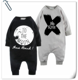 Wholesale Sleeping Jumpsuits - Fashion Newborn Baby Boy Girl Clothes INS Rompers NO SLEEP Jumpsuit One-pice Romper Long Sleeve Cotton Baby Kids Romper Gray Black Tops 9519