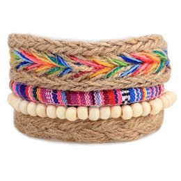 Wholesale Multi Color Bead Bracelet - Factory Price Multi Color mens leather or polyester braided bracelets Multilayer braided leather cuff bracelet with beads LB018
