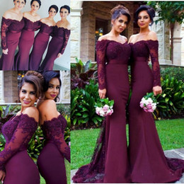 Wholesale Woman Wedding Party Long Dress - Elegant Burgundy Off Shoulder Lace Long Sleeve Bridesmaid Dresses For Wedding Satin Mermaid Sweep Train Women Formal Party Dresses