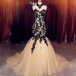 Apliques Vestido De Festa De Alta Pescoço Elegante Tule Vestidos de Noite Sereia Gola Alta Vestidos de Baile Vestido Longo de