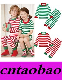 Wholesale Home Clothes Sleepwear - 100% Cotton Spring Winter Kids Pajamas Long Sleeve Christmas Style Home Clothing Set Pajamas Boys Girls Striped Sleepwear o-Neck