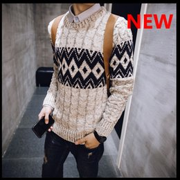 Wholesale Korean Fashion Sweater For Man - Wholesale-2016-2016 autumn and winter Korean men sweater for teenagers Crew neck men's sweater M-XXL High Quality warm fashion sweater