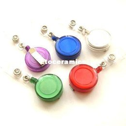Wholesale Round Plastic Name Badge Holder - Free Shipping ID Holder Name Tag Card Key Badge Reels Round Solid Translucent Plastic Clip-On Retractable Pull Reel NY-039