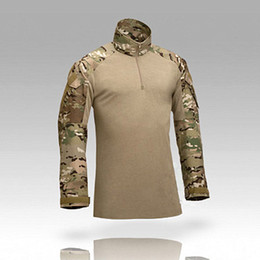 Wholesale Multicam Clothing - Camouflage Tactical Shirts uniform us army combat shirt cargo multicam Airsoft paintball militar tactical clothing with knee pads