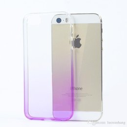 Wholesale I5 Skin - Gradient i5 5s Super Flexible Clear TPU Case For Iphone5 5se Slim Crystal Back Protect Skin Rubber Phone Cover Fundas Silicone Gel Case
