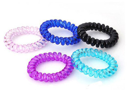 Wholesale Telephone Fashion Hair - Wholesale-2016 Fashion Hair Accessories Elastic Hairbands Candy Color Telephone Line Hair Rope Bands Ring Color Random Headwear
