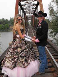 Wholesale Camo Evening Gowns - 2016 Camo Prom Dresses Sweethart Camouflage Ruffle And Pink Tulle Evening Party Formal Gowns