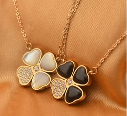 Wholesale Selling Stainless Steel Necklace Chain - Free shipping New hot sell jewelry clover rose gold necklace shell female Korean 14K Rose Gold necklace