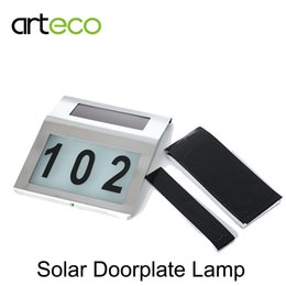Wholesale Led House Number Lights - LED Solar Doorplate Light 2LEDs White House Number Light LED Solar Night Light solar Lamp