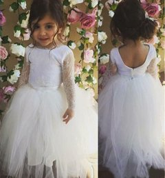 Wholesale Kids Vintage T Shirts - Charming Vintage White Long Lace Sleeve Flower Girl Dresses 2016 Lovely Kids Tutu Dress Girls Beauty Pageant Dresses