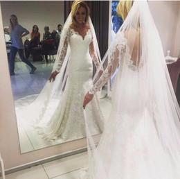 Wholesale Long Floor Length Veil - Vintage Lace Mermaid Wedding Dresses Sheer Deep V Neck Backless Corset Tulle 2017 Spring Garden Wedding Bridal Gowns Without Long Veil