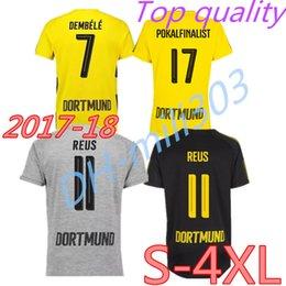 Wholesale Borussia Shirt - Top Thai quality Dott 2017 2018 Dortmunds soccer jersey 17 18 AUBAMEYANG GOTZE KAGAWA DEMBELE PULISIC REUS 2XL 3XL 4XL Borussia shirts