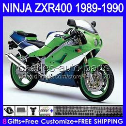 Carenados verde azul online-Green Blue 8gifts Carrocería para KAWASAKI NINJA ZXR400 89 90 ZX-R400 89-90 50HM1 ZXR-400 ZXR 400 1989 1990 1989-1990 Cuerpo de carenado verde blanco