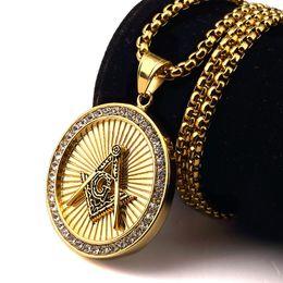 Wholesale Dj Plates - DJ Iced out 18K Gold Freemason Masonic Compass G Round Pendant Free-Mason Freemasonry Hip Hop Necklace For Men night club