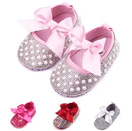 Wholesale Toddler Girls Shoes China - 2016 Autumn girls single shoes,Bowknot toddler shoes,Set auger princess baby shoes,non-slip kids indoor shoes,china shoes.9pairs 18pcs.ZH