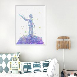 Wholesale Modern Original Paintings - Original Watercolor Le Petit Prince Kids Bedroom Modern Abstract Wall Art Pop Movie Poster Prints Canvas Paintings Love Gifts