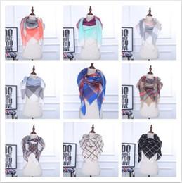 Wholesale Designers Scarves Women - 35 Colors Winter Scarf Tartan Cashmere Scarf Women Plaid Blanket Scarf New Designer Acrylic Basic Shawls CCA7065 50pcs