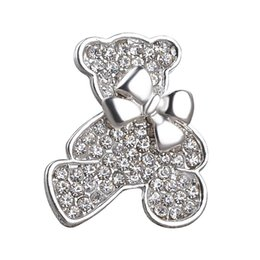 Wholesale Pooh Figures - silver plated 2017 Studded with full rhinestone Little Bear Brooch pins bowknot cubs Brooches Winnie the Pooh Corsage thorn women xz021