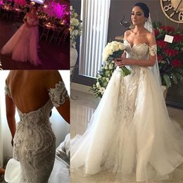 Wholesale Lace Removable Train Dress - 2018 Sexy Wedding Dresses with Removable Tulle Overskirt Mermaid Lace Applique Sweetheart Neck Backless Court Train Bridal Gowns