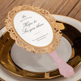 Wholesale Shaped Invitations - Cute Pink Gold Edge Mirror Shape Wedding Invitations Cards, By Wishmade, CW5096